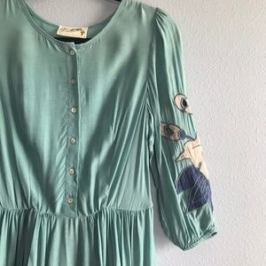 Free People Teal Rare Floral Embroidered Mini Dres